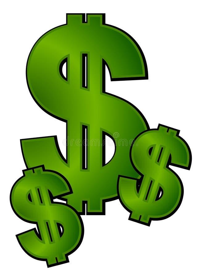 Arte de grampo do dinheiro dos sinais de dólar ilustração do vetor