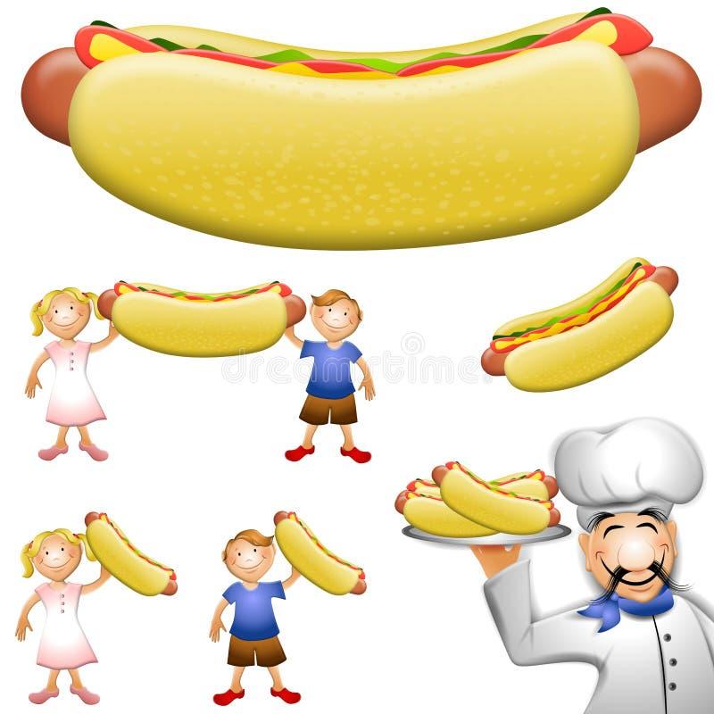 Arte de grampo do Hotdog dos desenhos animados ilustração stock