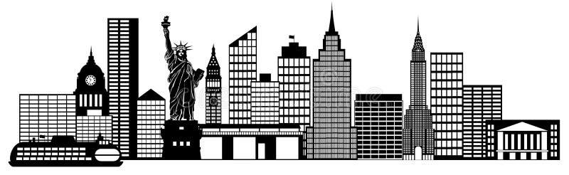 Arte de grampo do panorama da skyline de New York City ilustração royalty free