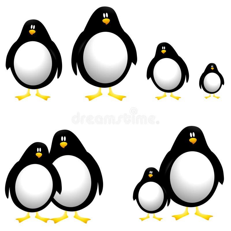 Arte de grampo dos pinguins dos desenhos animados ilustração stock
