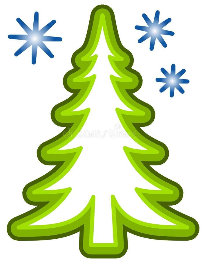 Arte de grampo simples da árvore de Natal ilustração stock