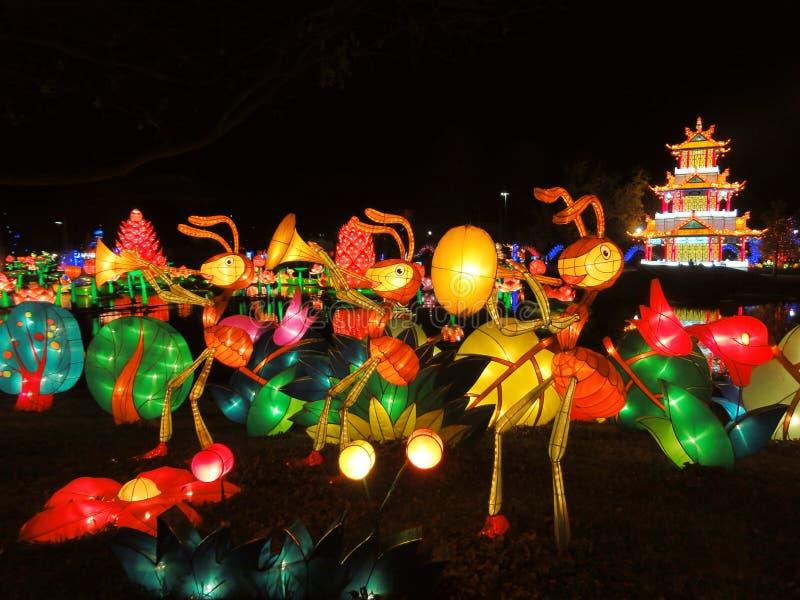 Arte de instalação chinesa da luz do festival de lanterna das formigas que jogam a música fotos de stock royalty free