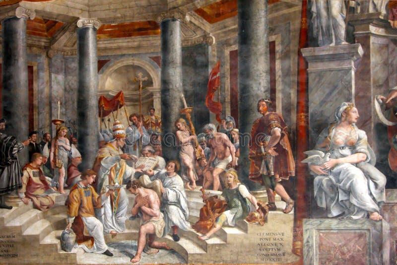 Arte de Italy, fresco de Raphael imagens de stock