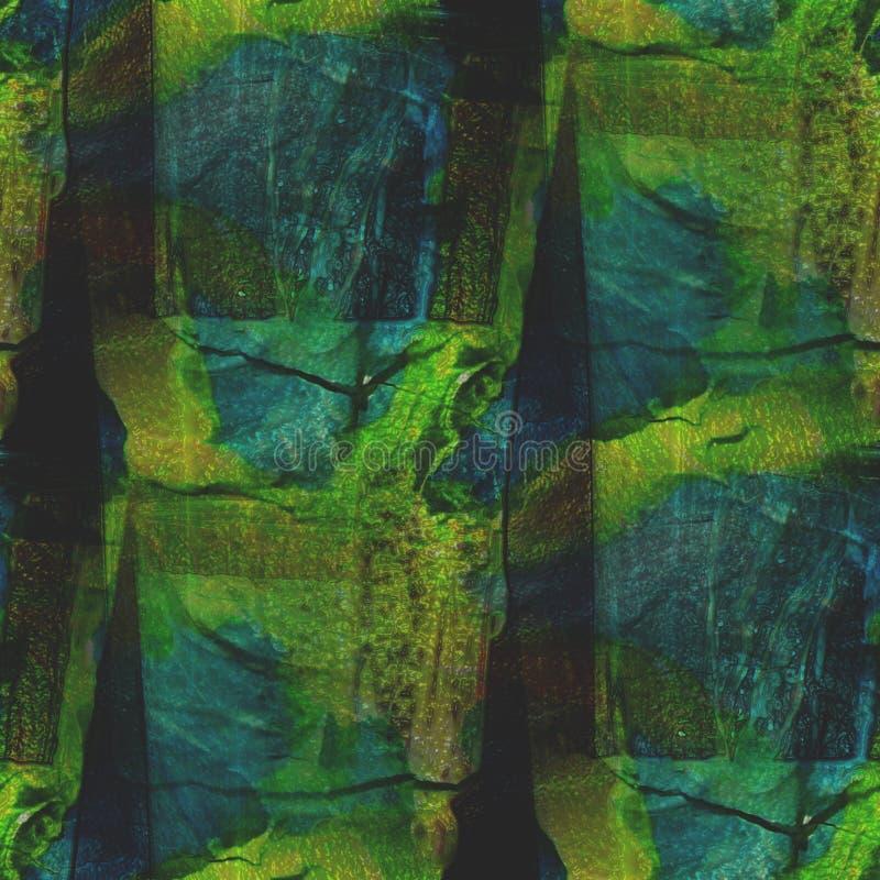Arte de la acuarela del verde azul del fondo inconsútil stock de ilustración