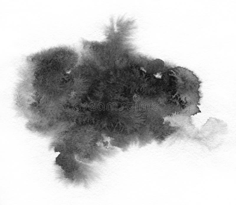 Arte de la acuarela Punto negro en el papel de la acuarela fotografía de archivo libre de regalías