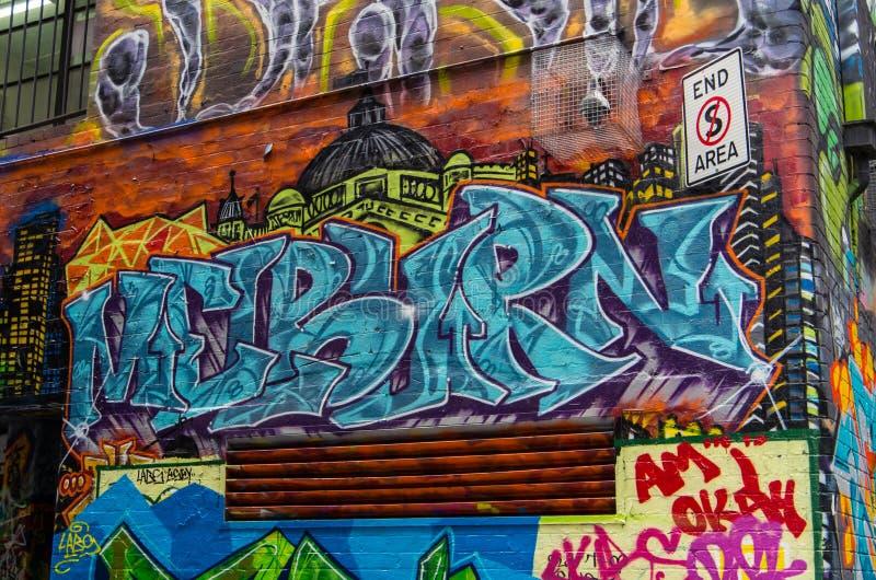 Arte de la calle en el carril de Rutledge en Melbourne, Australia foto de archivo libre de regalías