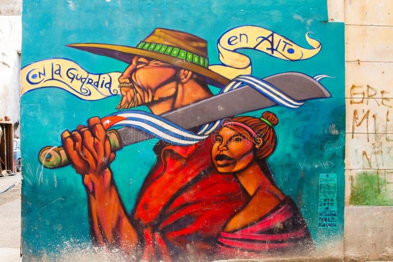 Arte de la calle en las paredes de los edificios de La Habana foto de archivo