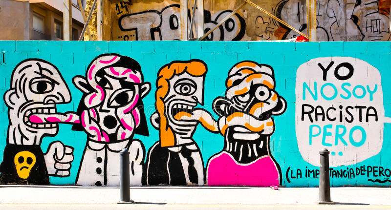 Arte de la calle en Valencia, España imagen de archivo