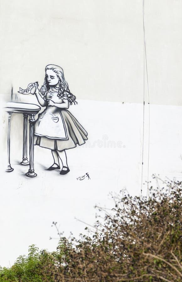 Arte de la calle (pintada) por el Kis-lev cerca de Neve Tsedek Tel Aviv, Isr foto de archivo libre de regalías