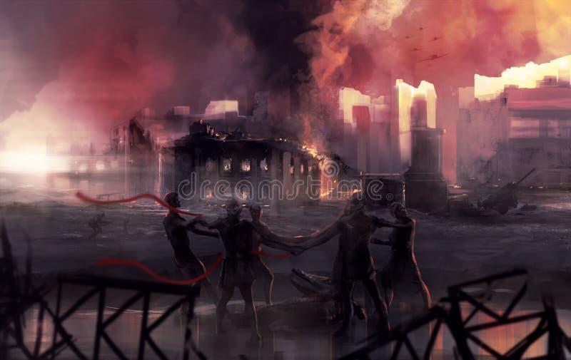 Arte de la estatua de la batalla de la guerra de Stalingrad ilustración del vector