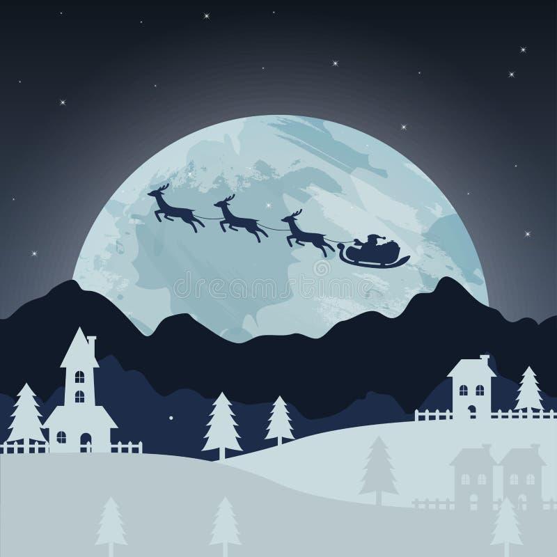 Arte de la Feliz Navidad y del papel de Feliz Año Nuevo Ejemplo de Santa Claus y del reno en el cielo para dar los regalos ilustración del vector