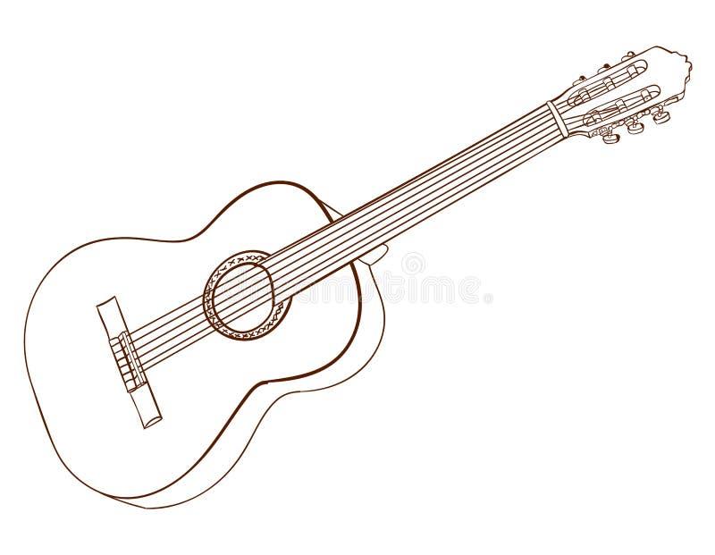Arte De La Guitarra Acústica Aislado En Blanco Líneas Del Marrón ...