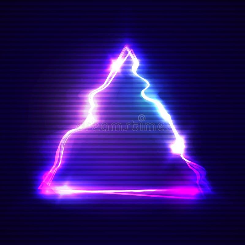 Arte de la interferencia con el marco glitched triángulo de neón libre illustration