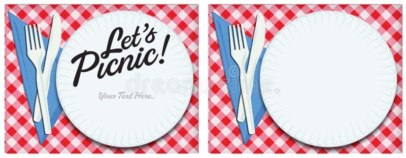 Arte de la invitación de la comida campestre libre illustration