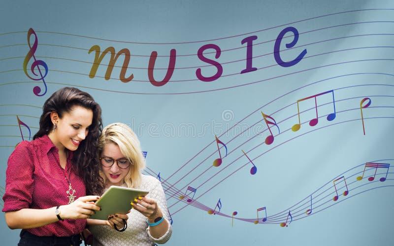 Arte de la nota de la música del concepto instrumental sano imagenes de archivo