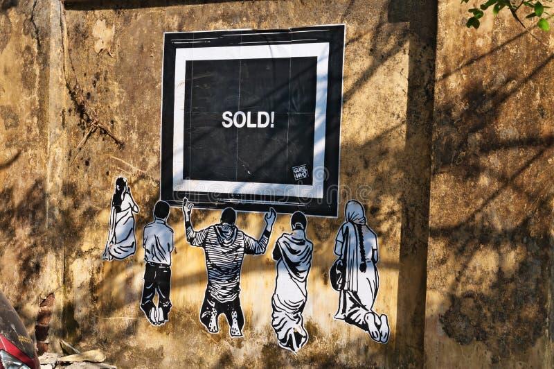 Arte de la pintada en la pared en el fuerte Kochi imagen de archivo libre de regalías