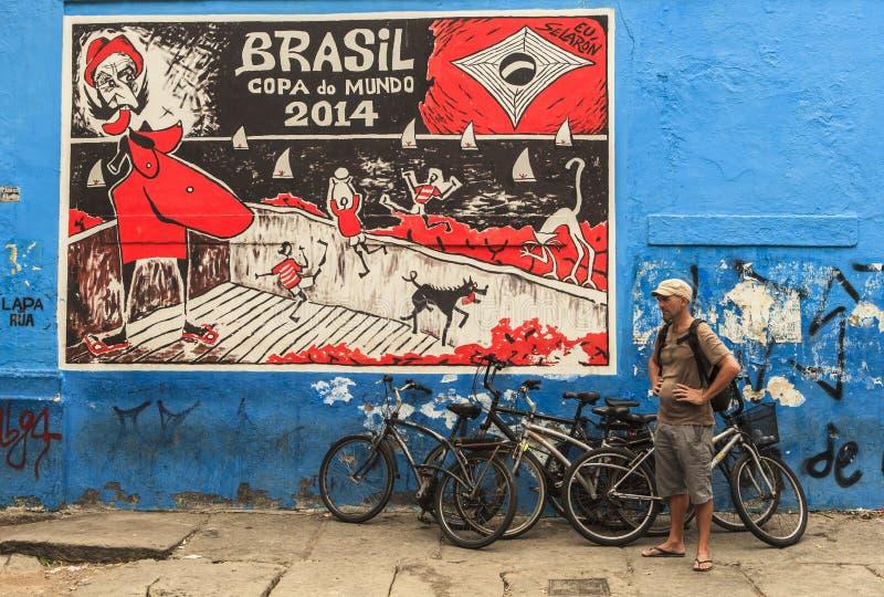 Arte de la pintada en Rio de Janeiro, el Brasil imagen de archivo libre de regalías