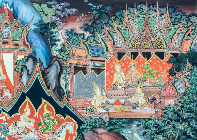 Arte de la pintura mural del templo budista en Tailandia imágenes de archivo libres de regalías