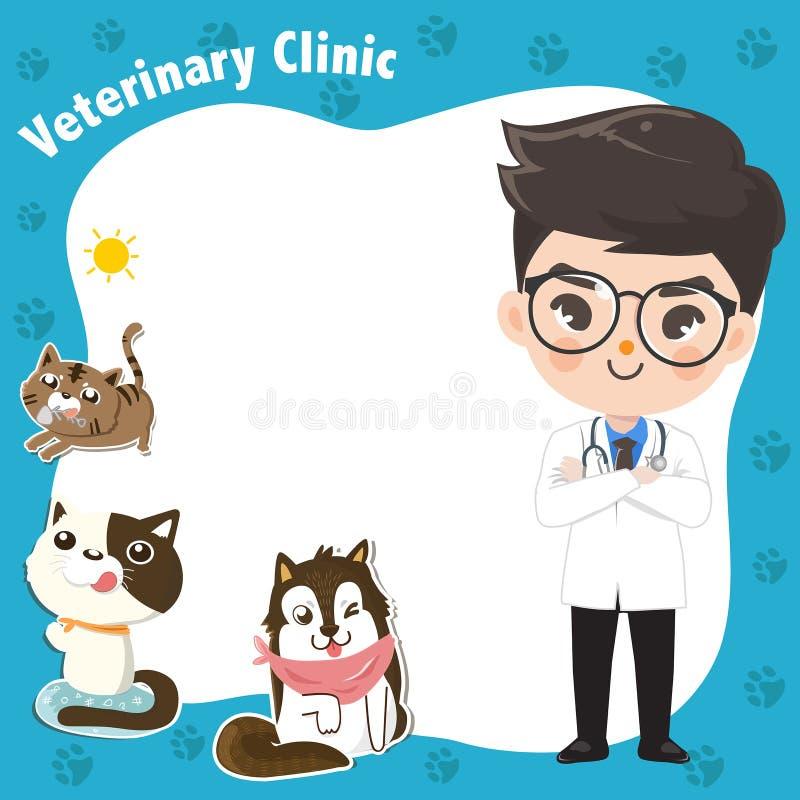 Arte de la plantilla para una clínica veterinaria con un muchacho del doctor foto de archivo