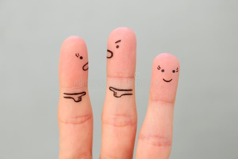 Arte de los fingeres de pares durante pelea fotografía de archivo