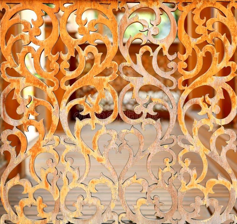Arte de madera del estilo tailandés del vintage imagen de archivo libre de regalías