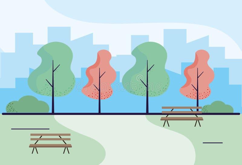 Arte de madera de los bancos de parque libre illustration