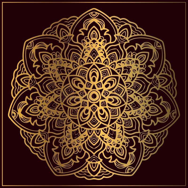 Arte de oro de lujo de la mandala con adornos florales circulares Arte de oro de la mandala para el elemento circular del diseño  libre illustration