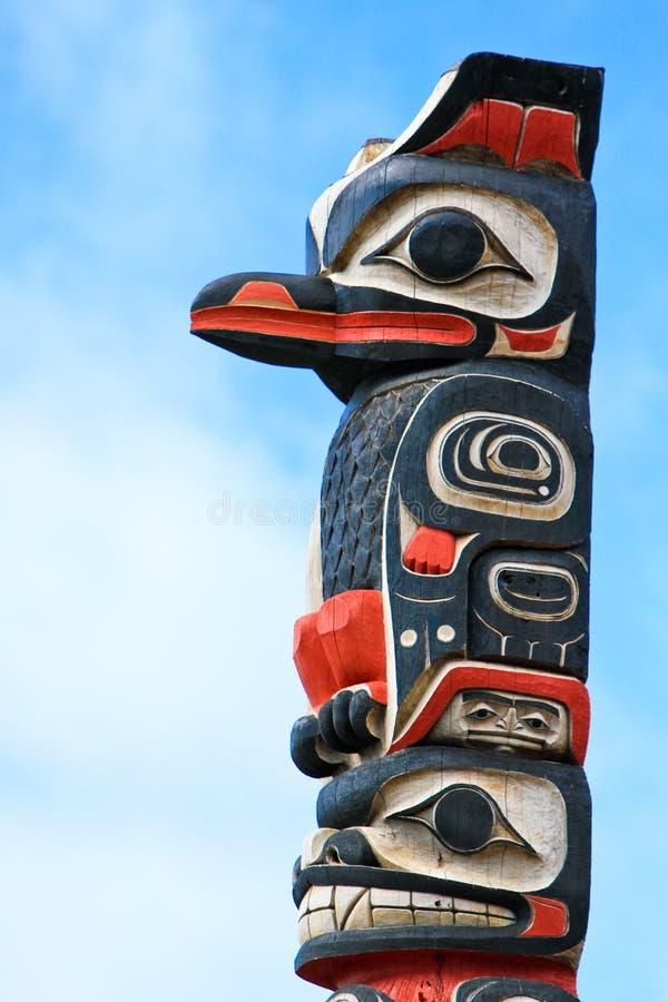 Arte de pólo de Totem do Tlingit de Alaska Huna fotos de stock