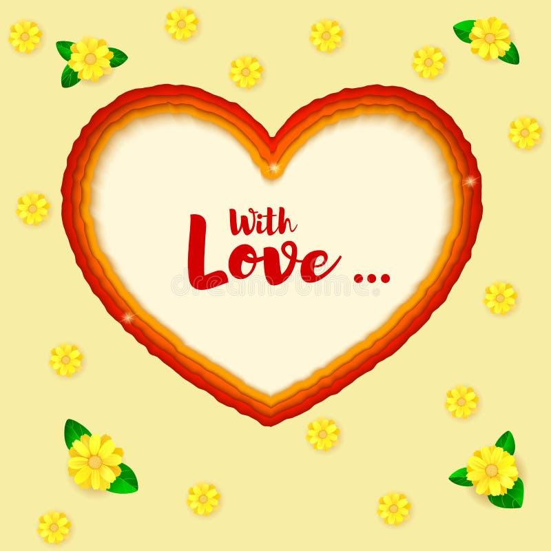 Arte de papel acodado Formas del corazón del corte del papel 3D ejemplo, fondo abstracto Saludo, postal para el romance y amor stock de ilustración
