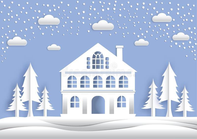 A arte de papel a casa grande, o meio do inverno, as árvores imagem de stock royalty free