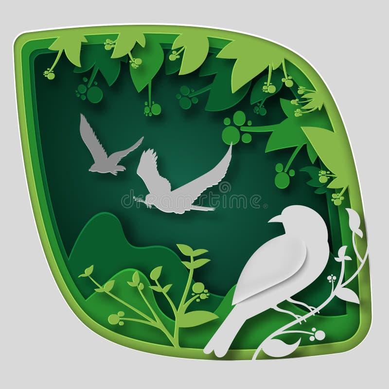 A arte de papel cinzela ao pássaro no ramo de árvore na floresta na noite, natureza do conceito do origâmi fotografia de stock royalty free