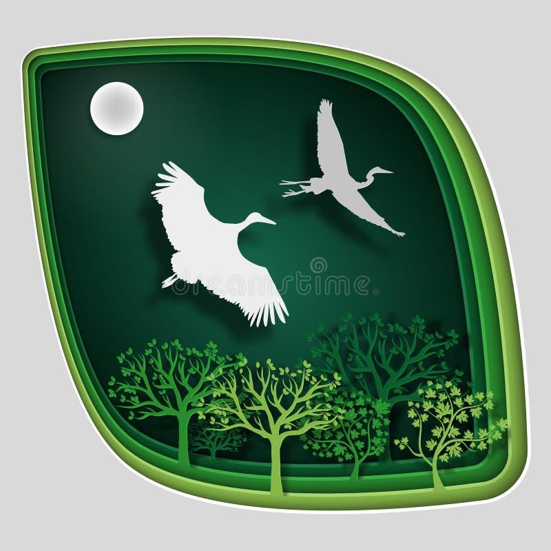 A arte de papel cinzela ao pássaro no ramo de árvore na floresta na noite, natureza do conceito do origâmi fotos de stock