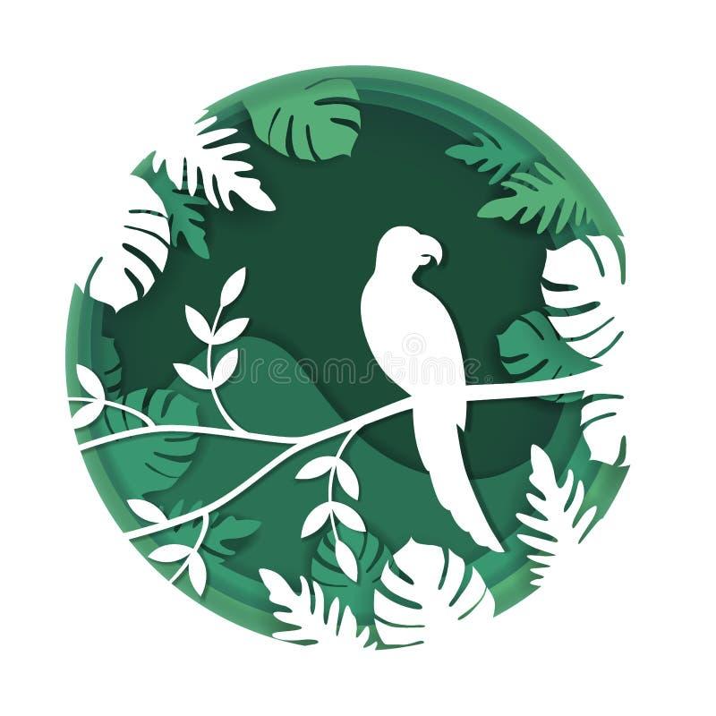 A arte de papel cinzela ao pássaro no ramo de árvore na floresta tropical na noite, na natureza do conceito do origâmi e nos anim ilustração royalty free