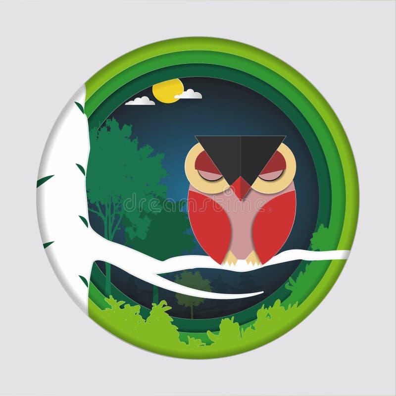 A arte de papel cinzela da coruja vermelha do pássaro no ramo de árvore na floresta na natureza do fundo da noite, do conceito do ilustração royalty free