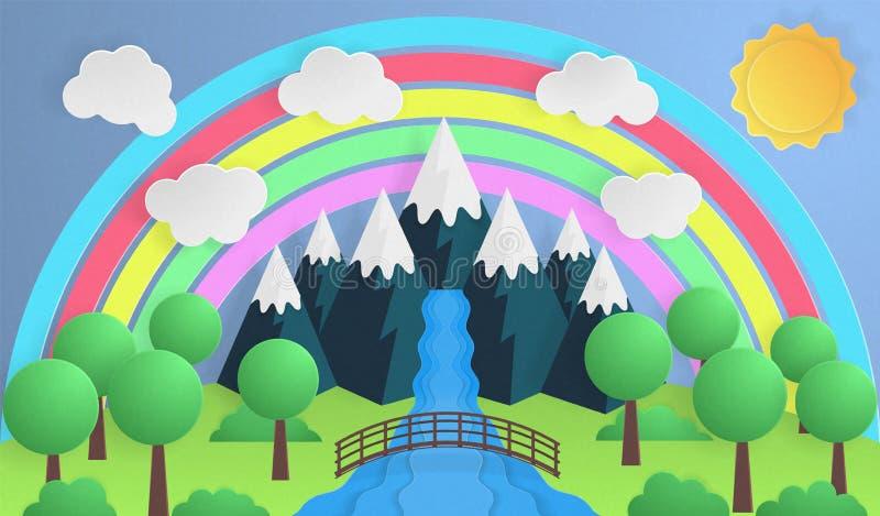 Arte de papel Día soleado, parque con el río de la montaña Puente del r?o stock de ilustración