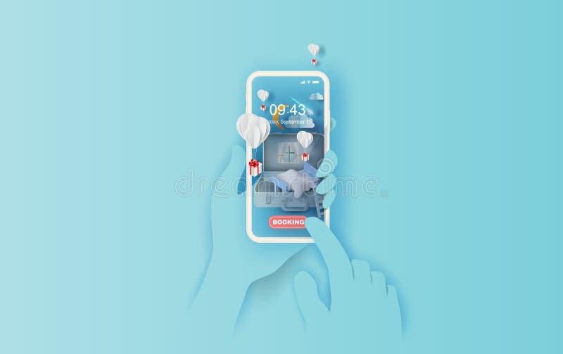 arte de papel 3D del dormitorio en concepto de la mano del móvil de la maleta su fondo del espacio del texto Ejemplo del sofá del ilustración del vector