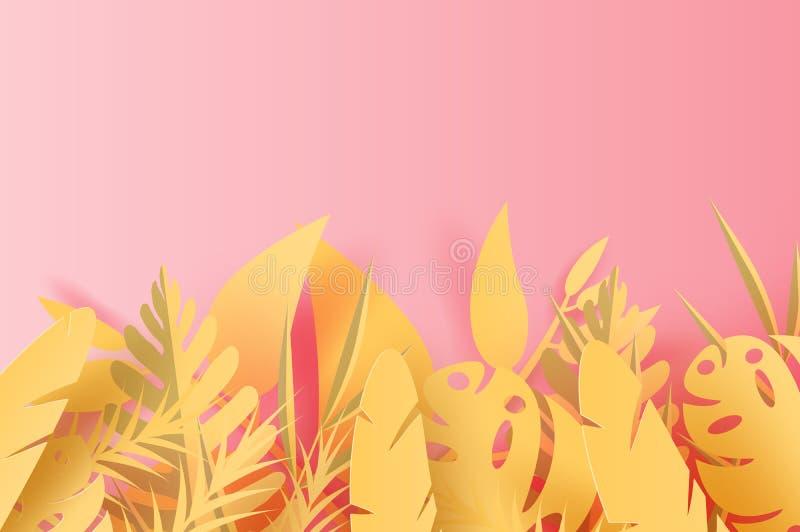 arte de papel 3D de la decoración tropical de la palma de la hoja de la estación de verano del ejemplo en el fondo puesto del esp ilustración del vector