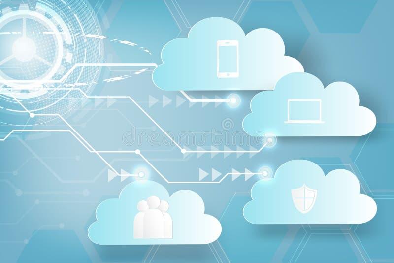 Arte de papel del backgro del extracto del negocio de la tecnología de la nube del web del icono ilustración del vector