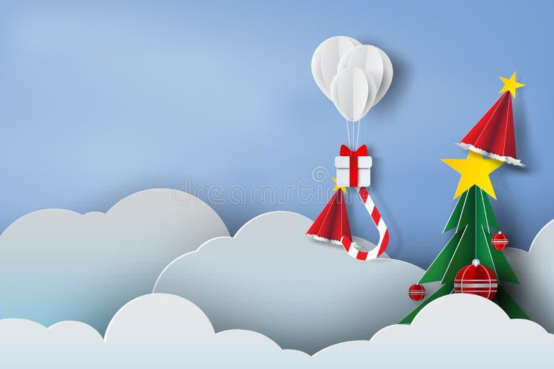 Arte de papel del blanco del globo y de la caja de regalo encendido en el cielo azul b del aire stock de ilustración