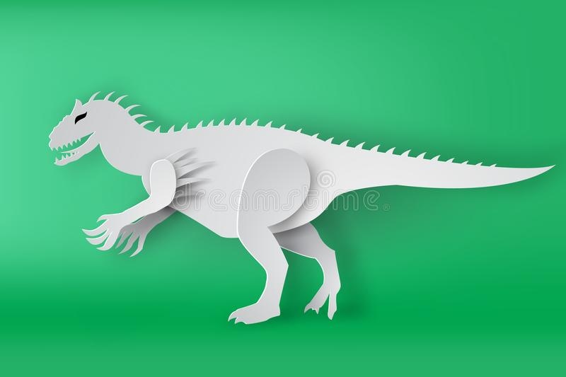 Arte de papel del dinosour de Indominous Rex en fondo verde libre illustration