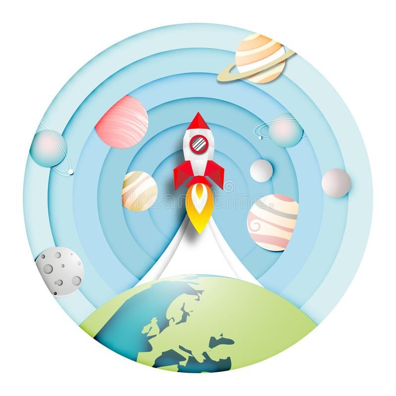 Arte de papel del lanzamiento de Rocket al fondo de la Sistema Solar y al vector abstracto del dise?o stock de ilustración