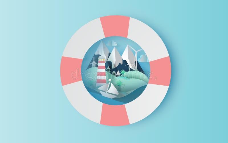 Arte de papel del viaje del ejemplo en día de fiesta con concepto del anillo de la nadada, el diseño gráfico para el corte del pa stock de ilustración