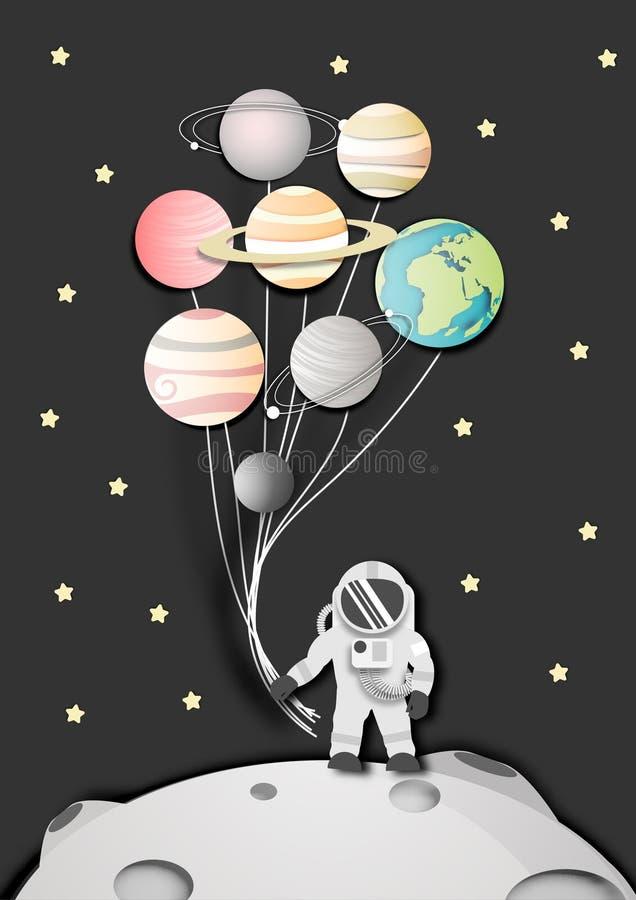 Arte de papel do astronauta na lua no fundo do espa?o ou da gal?xia, vetor abstrato do projeto ilustração royalty free
