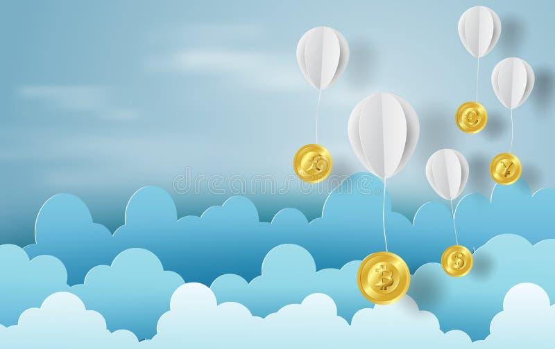 Arte de papel do balão com dinheiro da troca de moeda no negócio ilustração do vetor