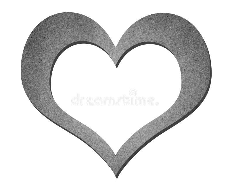 Arte de papel do coração em preto e branco ilustração do vetor