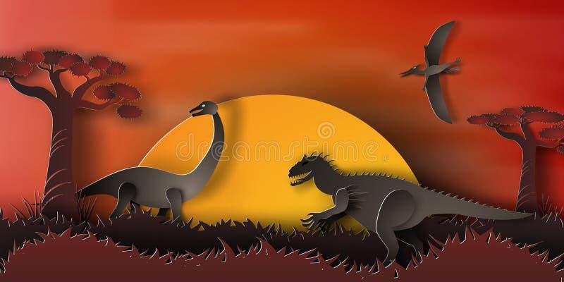 Arte de papel do dinossauro na floresta com por do sol, laranja, noite, vetor, ilustração stock