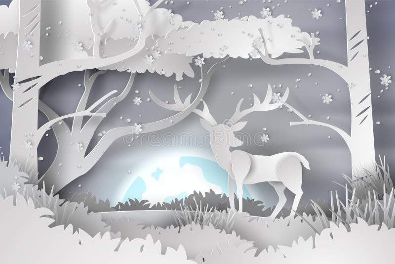A arte de papel dos cervos no lanscape da floresta neva com Lua cheia, vec ilustração stock