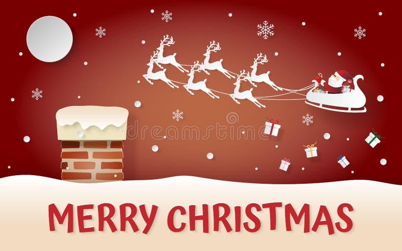 Arte de papel, estilo del arte de la chimenea en el tejado, Santa Claus y reno que vienen al pueblo stock de ilustración