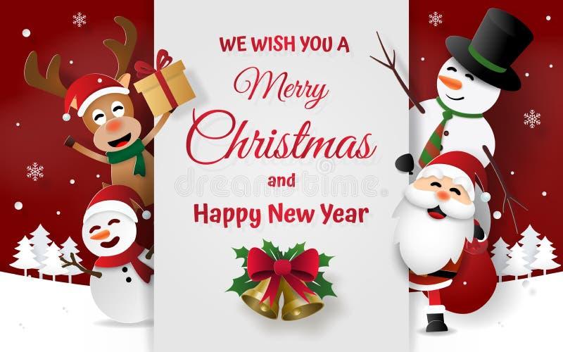 Arte de papel, estilo do ofício da festa de Natal com Santa Claus, boneco de neve e rena no convite do cartão ilustração do vetor