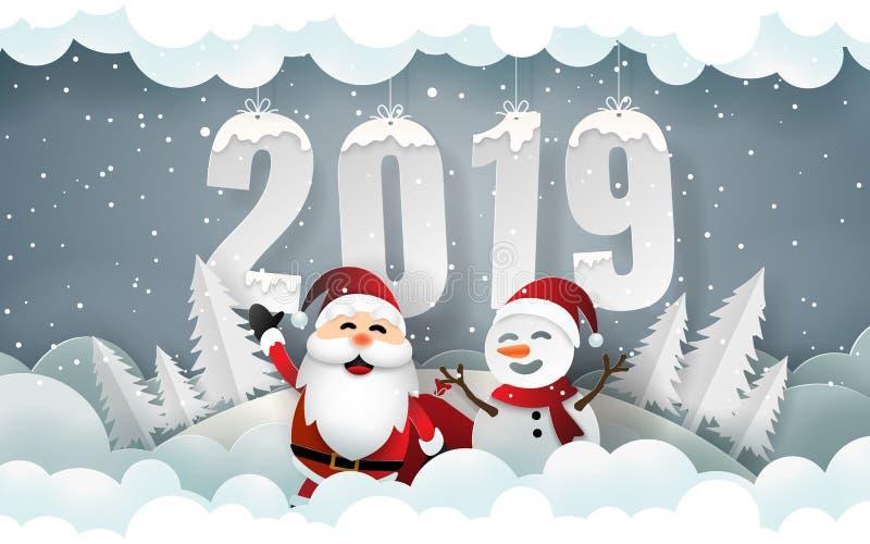 Arte de papel, estilo do ofício de Santa Claus e boneco de neve na estação do inverno ilustração royalty free